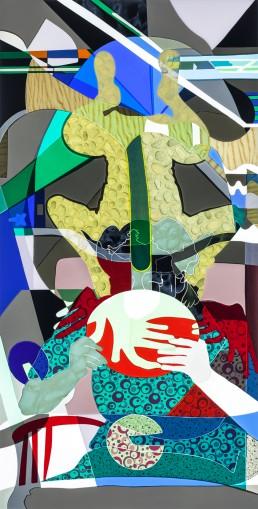 Hanna and Evy in Delft, 1944-I, series #2, 2015, h 152,4 cm x w 76,2 cm, collage of adhesive film on drawing polyester mounted on a lightbox-collage de film adhésif sur dessin polyester monté sur une lightbox-par-international-contemporain-plasticien-artiste-Patrick-Koster-basé-à-Amsterdam-Pays-Bas-Collage de película adhesiva sobre dibujo de poliéster montado en una caja de luz-por-artista-internacional-contemporánea-visual-Patrick-Koster-con sede en Amsterdam-Países Bajos-由国际当代视觉艺术家帕特里克·科斯特(Patrick-Koster)驻阿姆斯特丹的国际灯箱上的聚酯薄膜上的粘合膜拼贴画-ライトボックスに取り付けられたポリエステルを描画する際の接着フィルムのコラージュ-国際コンテンポラリー-ビジュアルアーティスト-パトリック-コスターに基づく-アムステルダム-オランダ