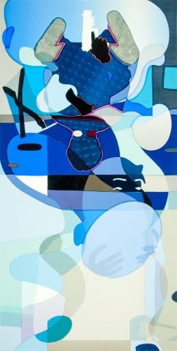 Hanna and Evy in Delft, 1944-II, series #2, 2016, h 152,4 cm x w 76,2 cm, collage of adhesive film on drawing polyester mounted on a lightbox-collage de film adhésif sur dessin polyester monté sur une lightbox-par-international-contemporain-plasticien-artiste-Patrick-Koster-basé-à-Amsterdam-Pays-Bas-Collage de película adhesiva sobre dibujo de poliéster montado en una caja de luz-por-artista-internacional-contemporánea-visual-Patrick-Koster-con sede en Amsterdam-Países Bajos-由国际当代视觉艺术家帕特里克·科斯特(Patrick-Koster)驻阿姆斯特丹的国际灯箱上的聚酯薄膜上的粘合膜拼贴画-ライトボックスに取り付けられたポリエステルを描画する際の接着フィルムのコラージュ-国際コンテンポラリー-ビジュアルアーティスト-パトリック-コスターに基づく-アムステルダム-オランダ-Collage aus Klebefilm auf Zeichnung Polyester auf Leuchtkasten montiert-collage van plakfilm op tekenpolyester gemonteerd op lichtbak