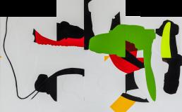 Misroute, 1996, h 93,6 x b 150 cm, collage of adhesive film on wood panel-by-International-Contemporary-visual-artist-Patrick-Koster-based-in-Amsterdam-collage van plakfilm op paneel (hout) door internationaal hedendaags beeldend kunstenaar Patrick Koster-collage of adhesive film on wood panel by international contemporary visual artist Patrick Koster-国際的な現代ビジュアルアーティストPatrick Kosterによる木製パネルの接着フィルムのコラージュ-国际当代视觉艺术家Patrick Koster在木板上粘贴胶粘剂的拼贴画-Collage aus Klebefolie auf Holztafel des internationalen zeitgenössischen bildenden Künstlers Patrick Koster-Collage de película adhesiva sobre panel de madera por el artista visual contemporáneo internacional Patrick Koster-collage de film adhésif sur panneau de bois par l'artiste visuel contemporain international Patrick Koster-коллаж из клейкой пленки на деревянной панели международного современного визуального художника Патрика Костера
