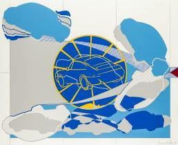 Autodrome, 1995, h 122 x b 147 cm, collage of adhesive film on wood panel-1996-by-Contemporary-visual-artist-Patrick-Koster-based-in-Amsterdam-collage van plakfilm op paneel (hout) door internationaal hedendaags beeldend kunstenaar Patrick Koster-collage of adhesive film on wood panel by international contemporary visual artist Patrick Koster-国際的な現代ビジュアルアーティストPatrick Kosterによる木製パネルの接着フィルムのコラージュ-国际当代视觉艺术家Patrick Koster在木板上粘贴胶粘剂的拼贴画-Collage aus Klebefolie auf Holztafel des internationalen zeitgenössischen bildenden Künstlers Patrick Koster-Collage de película adhesiva sobre panel de madera por el artista visual contemporáneo internacional Patrick Koster-collage de film adhésif sur panneau de bois par l'artiste visuel contemporain international Patrick Koster-коллаж из клейкой пленки на деревянной панели международного современного визуального художника Патрика Костера