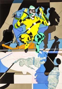 Revolution, 2015, h 150,9 cm x w106,7 cm, collage of adhesive film on drawing polyester mounted on a lightbox-collage de film adhésif sur dessin polyester monté sur une lightbox-par-international-contemporain-plasticien-artiste-Patrick-Koster-basé-à-Amsterdam-Pays-Bas-Collage de película adhesiva sobre dibujo de poliéster montado en una caja de luz-por-artista-internacional-contemporánea-visual-Patrick-Koster-con sede en Amsterdam-Países Bajos-由国际当代视觉艺术家帕特里克·科斯特(Patrick-Koster)驻阿姆斯特丹的国际灯箱上的聚酯薄膜上的粘合膜拼贴画-ライトボックスに取り付けられたポリエステルを描画する際の接着フィルムのコラージュ-国際コンテンポラリー-ビジュアルアーティスト-パトリック-コスターに基づく-アムステルダム-オランダ