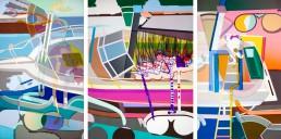 The Fugitive , triptych, 2014, h 165,1 cm x w 325 cm, collage of adhesive film on drawing polyester mounted on a lightbox-by-Contemporary-visual-artist-Patrick-Koster-based-in-Amsterdam-The-Netherlands-film adhésif sur dessin polyester monté sur une boîte à lumière-plakfolie op tekenpolyester gemonteerd op ledlichtbak-De Voortvluchtige