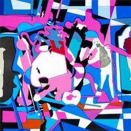 Les Trois Mousquetaires – Un pour tous, tous pour un, 2 – Mon petit poney, serie #4, 2017, h 44,8 cm x b 44,8 cm, collage of adhesive film on drawing polyester mounted on a lightbox-by-Contemporary-visual-artist-Patrick-Koster-based-in-Amsterdam-The-Netherlands-film adhésif sur dessin polyester monté sur une boîte à lumière-plakfolie op tekenpolyester gemonteerd op ledlichtbak